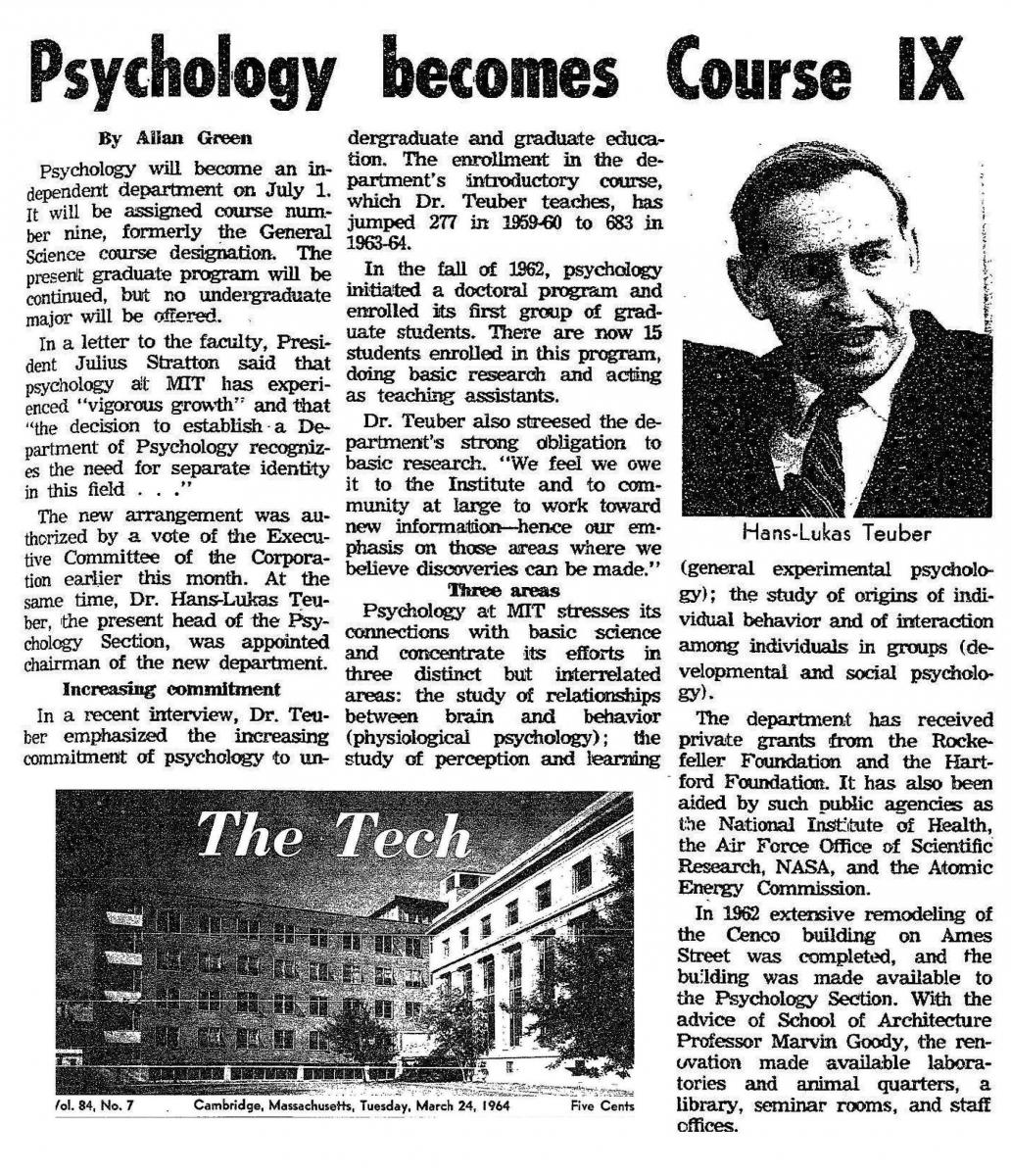 MIT's the Tech on the creation of the Department of Psychology